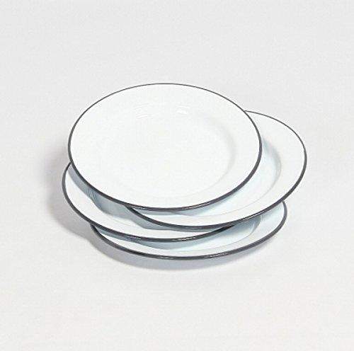 Falcon Enamelware Teller-Set 4-teilig :: Grey-White :: Plate Set