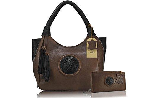 FERETI Borse con portafoglio corrispondente bicolore marrone et nero da donna vera pelle Leone 3D e nappa
