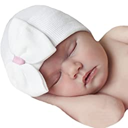 Melondipity White Big Bow & Sweet Pink Ribbon Newborn Girl Hospital Baby Hat