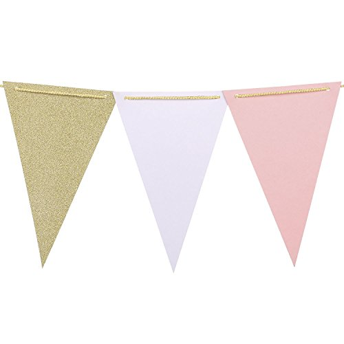 Ling's moment 10 Feet Vintage Style Triangle Flag Banner, Paper Pennant Bunting for Wedding, Baby Shower and Party Decorations, 15pcs Flags(Pink+White+Champagne Gold Glitter)