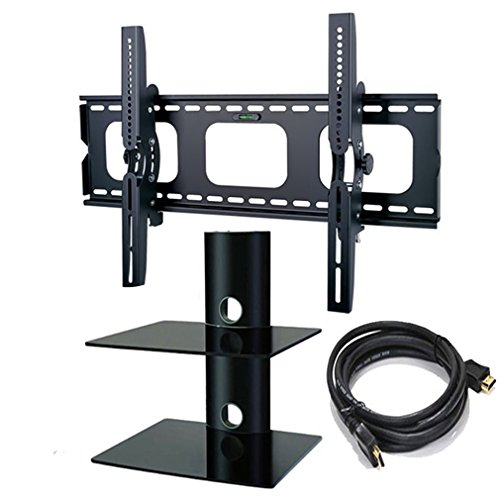 2Xhome - Tv Wall Mount Bracket & Two (2) Double Shelf Package - Led Lcd Plasma Smart 3D Wifi Flat Panel Screen Monitor Moniter Display Displays - Flat Thin Slim Sleek Against The Wall Adjusting Adjustable - Dual 2 Tier Under Tv Tempered Glass Floating Han front-1015805