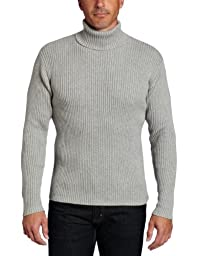 Alex Stevens Men\'s Ribbed Turtlneck Sweater, Light Heather Grey, Large