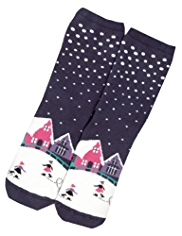 Cotton Rich Terry Ice Rink Slipper Socks