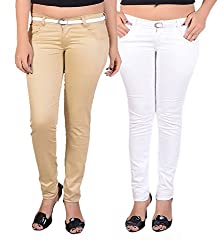 Goodgift White & Brown Cotton Lycra Jeans