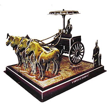 Diy 3D Puzzle China Bronze Chariots Horses (64Pcs, Difficulty 4 Of 5) front-385106