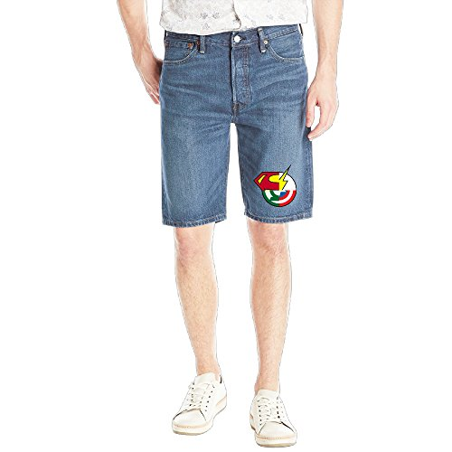 [ASCHO2 Men's Classic American Comic Film 5-Pocket Jean Short] (Persona 4 Dancing All Night Costumes)