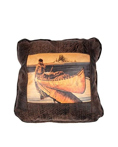 Fur Trapper in Canoe Leather Pillow, Brown