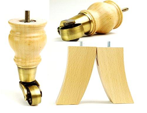 4x Ersatz Massivholz Möbel Füße Antik Beine mit Rollen 140mm Höhe für Sofas, Stühle, Hocker Sofa M8(8mm)
