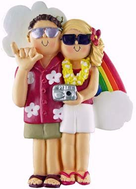 Brown & Blonde Vacation Couple Christmas Ornament