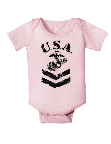 Usa Military Marine Corps Stencil Logo Infant One Piece Bodysuit - Light Pink - 18 Months