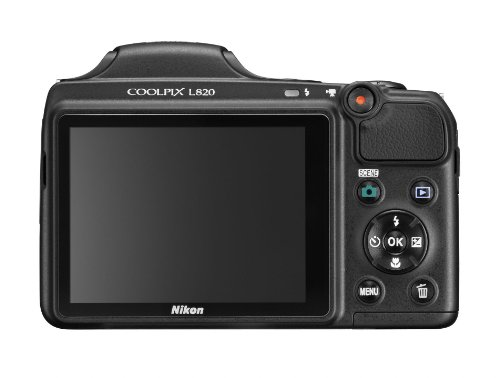 Nikon COOLPIX L820 16 MP CMOS Digital Camera with 30x Zoom Lens and Full HD 1080p Video (Black): NIKON