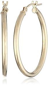 "Duragold 14k Yellow Gold Round Hoop Earrings (1"" Diameter)"