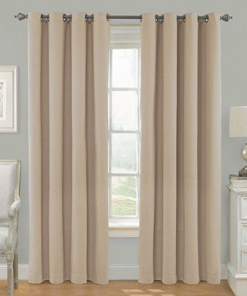 "Awad Home Fashion 2 Piece Solid THERMAL BLACKOUT Grommet Window Panel Curtain Drapes 55""W x 84""L, Taupe"