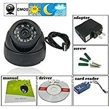 Finicky World CCTV Dome 24 IR Night Vision Camera DVR with Memory Card Slot Recording (USB),Black at amazon