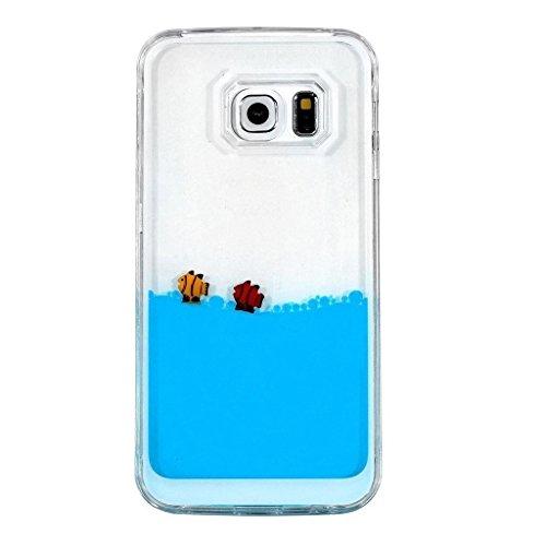 Etche Galaxy S6 Liquid Fließen Flüssig Bling Hülle,Galaxy S6 Kristall Klar Transparent Hart Tasche,kreativ komisch niedlich 3D fließend schwimmende Schwimmen Fisch Wasser Handytasche Protective Rückseite Hülle Schale Etui für Galaxy S6 mit Blau Eingabestift Bling glitzer Diamant Staubstecker(blau)
