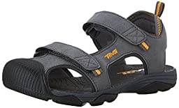 Teva Toachi Closed Toe Sandal (Little Kid/Big Kid), Dark Grey/Orange-T, 7 M US Big Kid