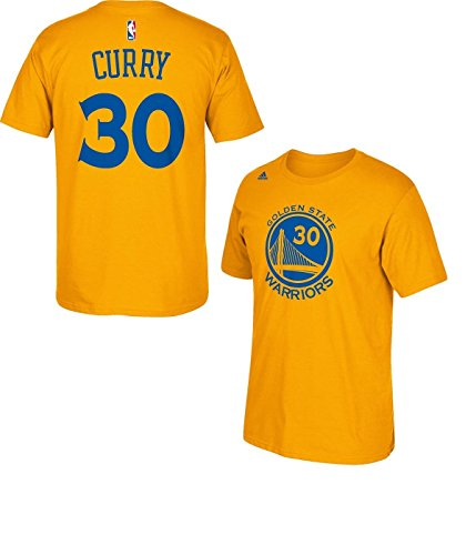 Stephen Curry Golden State Warriors Gold Jersey Name and Number T-shirt Large (Steph Curry Merchandise compare prices)