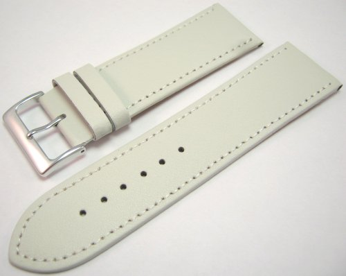 White Leather Watch Strap Band With A Stitched Edging And Nubuck Lining 26mm