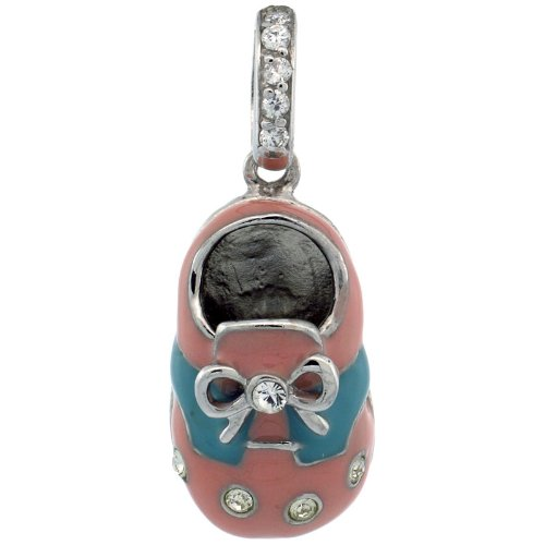 Sterling Silver Pink & Blue Enamel Baby Shoe Pendant w/ CZ Stones, 7/8 in. (23mm) tall