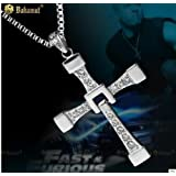 Big size Fast and Furious 6 Dominic Toretto's Cross Necklace Pendant Vin Diesel Titanium Steel Necklace Men\s Jewelry