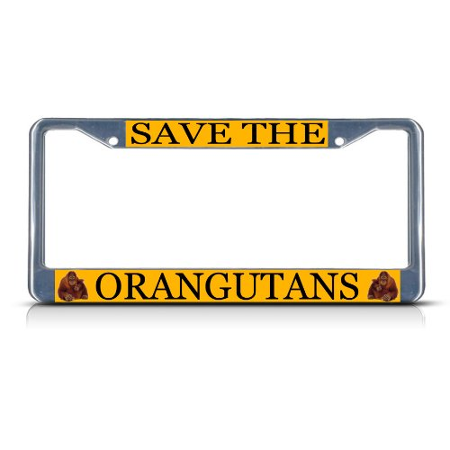 SAVE THE ORANGUTAN Chrome Metal Heavy Duty License Plate Frame Tag Border