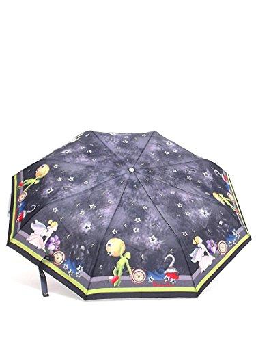 Braccialini ombrello donna, BC825 Once Upon a Time Peter Pan, ombrello mini tre sezioni antivento, tessuto pongee, colore nero