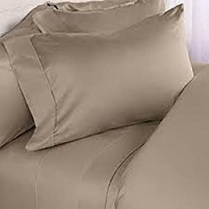 Brand New Super Soft 600 Thread Count 100% Egyptian Cotton 4pc Sheet Set Taupe Solid Olympic Queen Size 24'' Deep Pocket