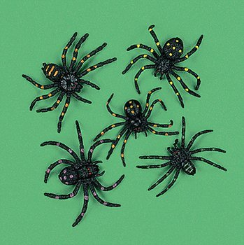 "Party902 - 12 Strechy and Scary Plastic Spiders, 2"", Made of plastic"