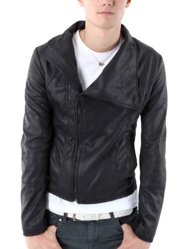 9XIS Mens Rider Highneck Leather Jacket BLACK L (9MO014)