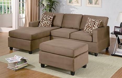 Furniture2go F7662 Microfiber Plush Saddle Sectional Sofa + Ottoman - Chaise, 2-Seat Sofa, Ottoman, Pillows