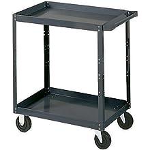 "Edsal SC1800 Industrial Gray Extra Heavy Duty Industrial Service Cart, 2 Shelves, 16 Gauge Steel, 1000lbs Capacity, 30"" Width x 36"" Height x 18"" Depth"