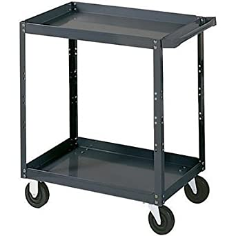 "Edsal SC1800 Industrial Gray Extra Heavy Duty Industrial Service Cart, 2 Shelves, 16 Gauge Steel, 1000lbs Capacity, 30"" Width x 36"" Height x 18"" Depth"