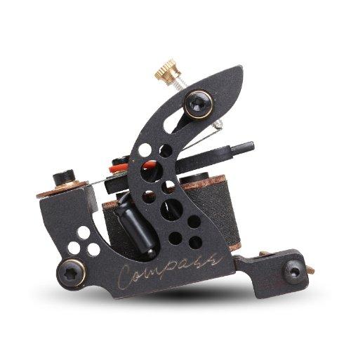 Compass Tattoo Machine Gun Plata Shader 10 Wraps Steel Frame Copper Coils WQ2069