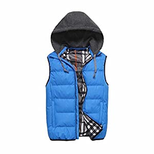 Mright Mens Polyester Cardigan Leisure Vest with hood(Sky Blue,US L)