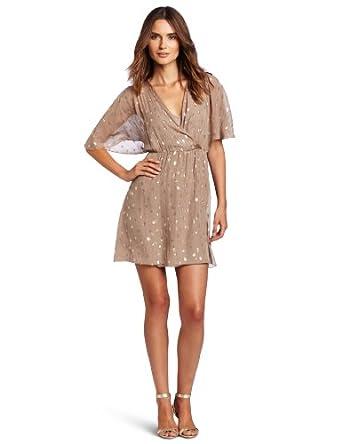 aryn K Women's Quarter Sleeve Dress, Taupe, Small