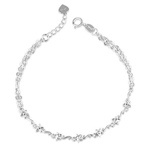 14ct-de-oro-blanco-de-diamond-cut-twinky-estrellas-pulsera-1651-cm-de-regalo-de-navidad