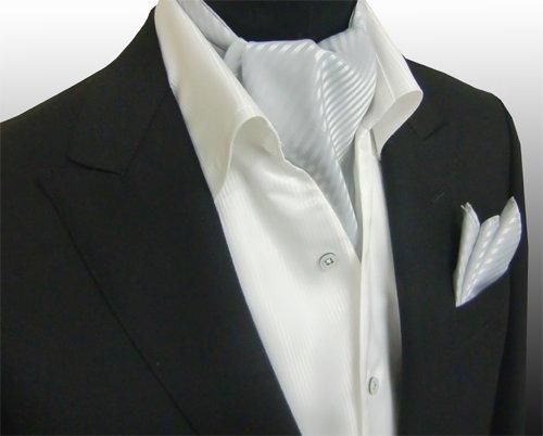 安心の国内縫製 アスコットタイ&チーフセット MS-5001 ストライプ (シルバー)