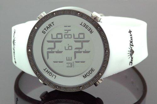 Ice Plus Mens Diamond Digital Gucci Style Watch White Band