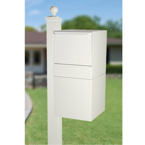 dVault Full Service Locking Mailbox, White Post/Column Mount Delivery Vault, Box and Side Mount In-Ground Post Kit, DVU0050-SMPI-3-KIT, White