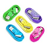 COSMOS 5 PCS Of Aqua Blue/Hot Pink/Purple/Green/Ye... 3 Feet USB Charge And Sync Data Cable For IPod Touch Itouch...