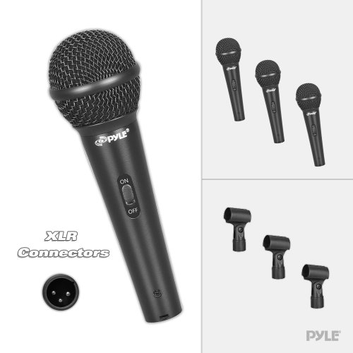 PylePro PDMICKT80 Set of 3 Dynamic Cardioid Vocal Microphones with Clips, 3-Pack