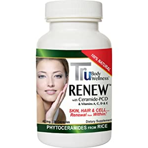 Phytoceramides, By Tru Renew, Made from Rice and Gluten FREE. Clinical trials show superior to Wheat. Moisturize the Skin Naturally, a All Natural Facelift, Works From the Inside Out. images