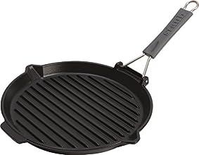 Staub Grillpfanne rund mit Silikongriff (27 cm, induktionsgeeignet, mit mattschwarzer Emaillierung im Inneren der Pfanne) schwarz