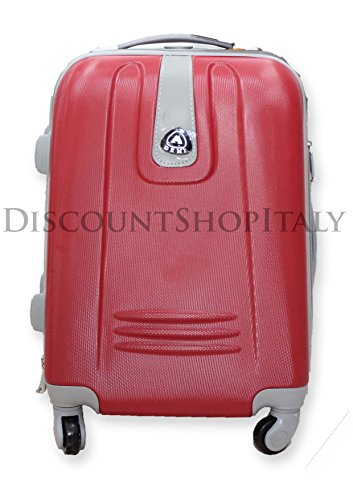 TROLLEY VALIGIA BAGAGLIO A MANO CABINA RYANAIR EASY JET 4 RUOTE LOW COST ABS (Rosso)
