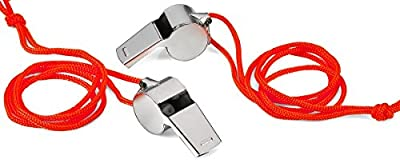 2 Pack Stainless Steel Coaches Whistle With Lanyard - Easy Blow Loud Whistle Good For Referee, Coaches, Training, Sporting, Self Defense, Survival, Emergency, - By Katzco