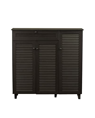 Baxton Studio Pocillo Shoe Storage Cabinet, Dark Brown