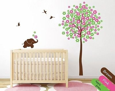 Nursery Decor For Your Baby'S Room Birds Tree With Blossoms And Elephant Kr009_2