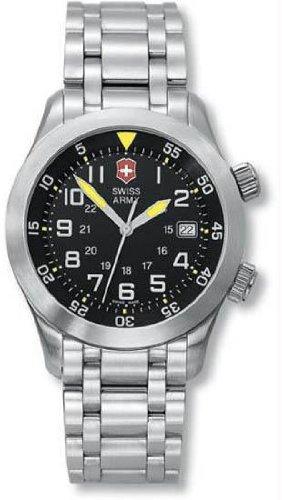 Swiss Army Air boss Mach 2 Steel Mens Watch Black Dial Date 24041