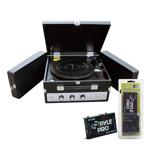 Pyle Turntable Record Player And Pre-Amplifier Package - Plttb8Ui Classical Vinyl Turntable Record Player With Pc Encoding/Ipod Player/Aux Input & Dual Fold-Out Speaker System - Pp999 Phono Turntable Pre-Amplifier