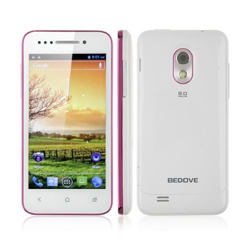 Bedove X12 Android Phone Android 4.0 Mtk6577 3G Gps Wifi 4.0 Inch Smart Phone - White+Pink